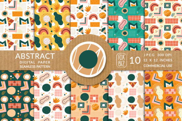 Print on Demand: Abstract Shapes Flat Seamless Pattern. Graphic Patterns By FoxBiz