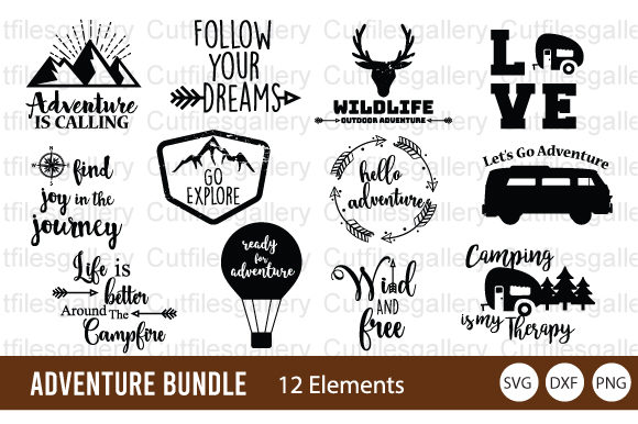 Download Free Adventure Bundle Travel Graphic By Cutfilesgallery Creative Fabrica for Cricut Explore, Silhouette and other cutting machines.