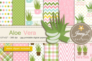 Aloe Vera Digital Papers and Clipart Graphic Patterns By jennyL_designs