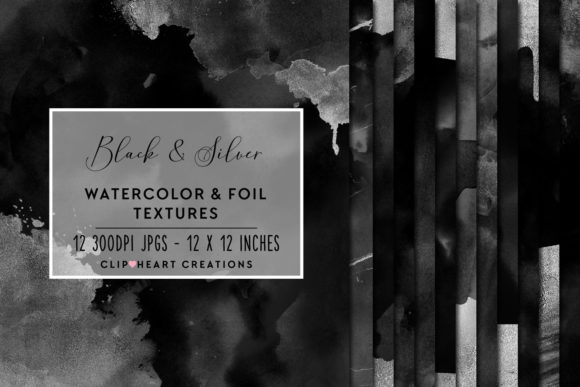 Download Free Black Silver Watercolor Foil Papers Graphic By for Cricut Explore, Silhouette and other cutting machines.