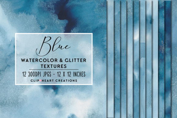 Blue Glitter Watercolor Digital Papers Graphic Backgrounds By clipheartcreations