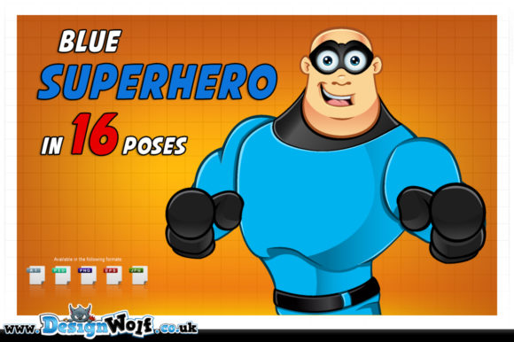 Download Free Blue Superhero Character In 16 Poses Graphic By Designwolf for Cricut Explore, Silhouette and other cutting machines.