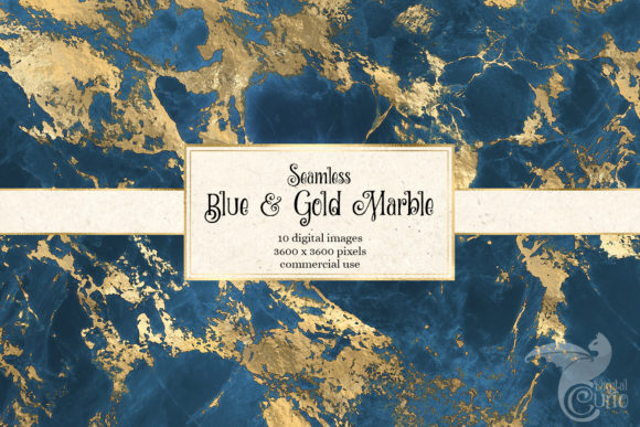 Blue and Gold Marble Digital Paper Graphic Download