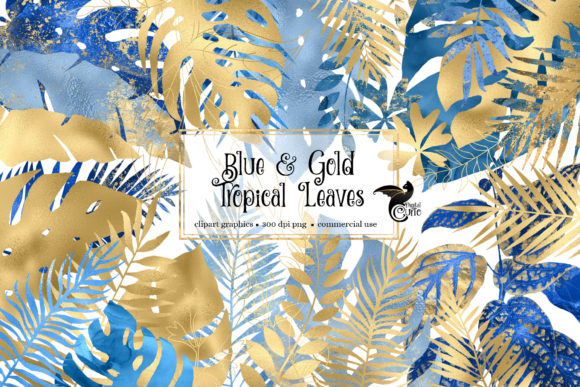 Print on Demand: Blue and Gold Tropical Leaves Clipart Graphic Illustrations By Digital Curio