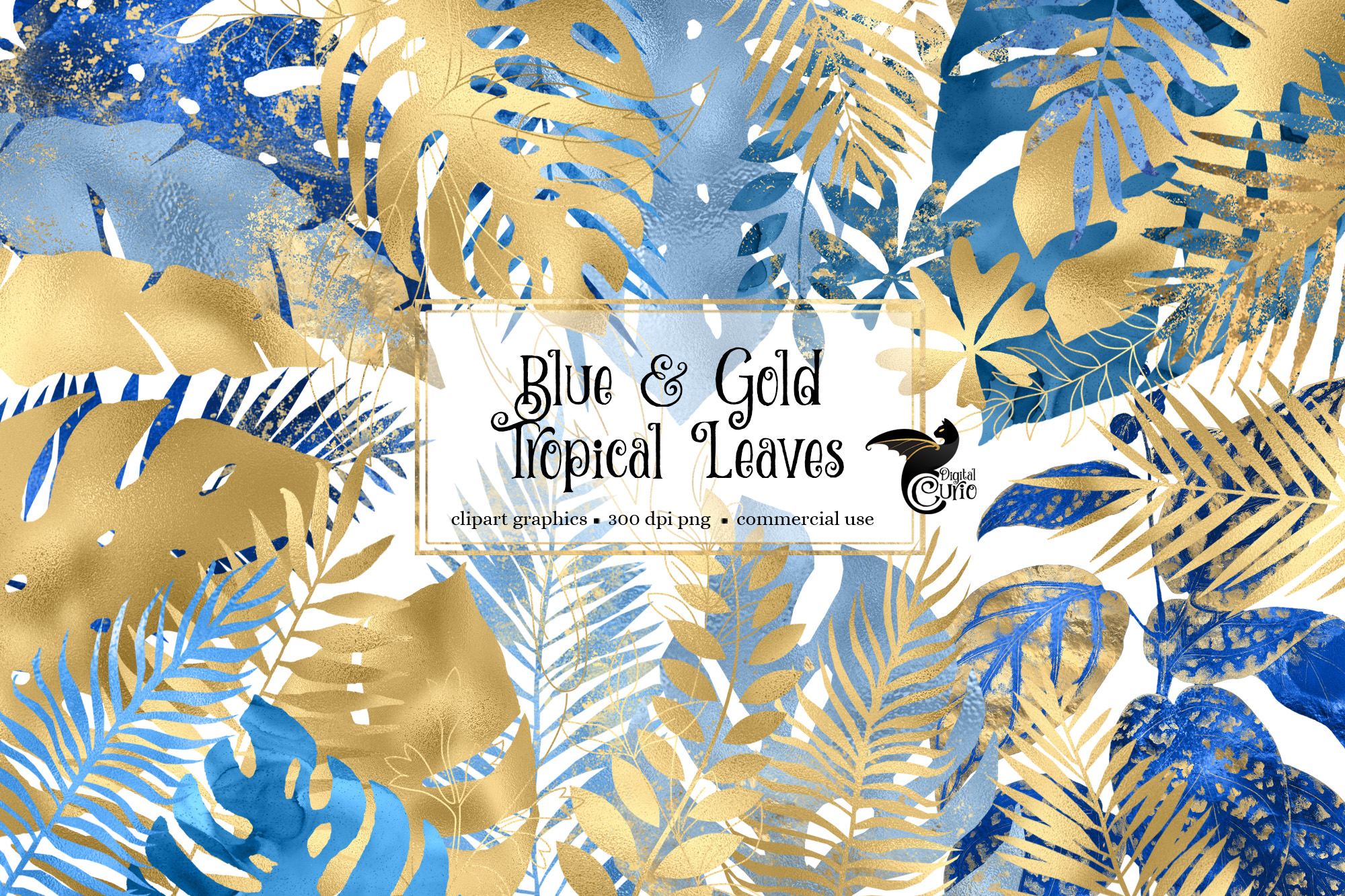 Download Free Blue And Gold Tropical Leaves Clipart Graphic By Digital Curio for Cricut Explore, Silhouette and other cutting machines.