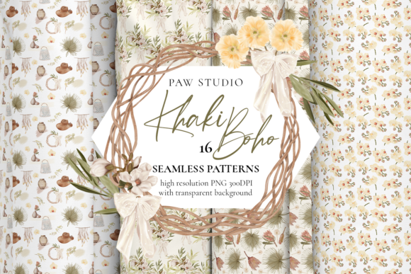 Print on Demand: Boho Seamless Patterns. Flowers. Leaves Graphic Patterns By PawStudio