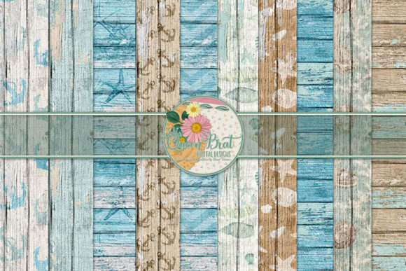 Print on Demand: By the Sea Wood Papers Graphic Backgrounds By QueenBrat Digital Designs - Image 1