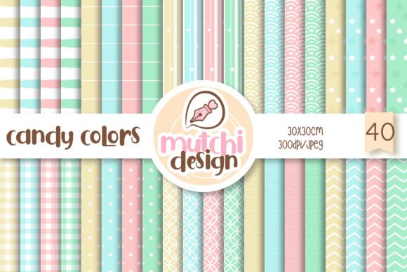 Print on Demand: Candy Colors Set Digital Papers Graphic Backgrounds By Mutchi Design