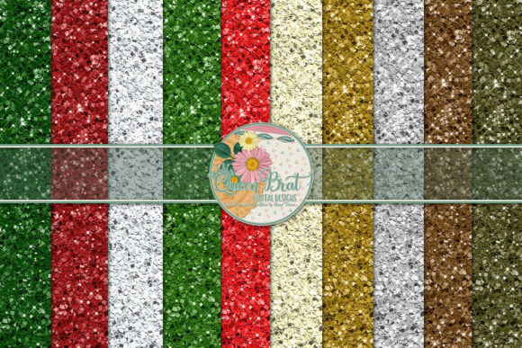 Print on Demand: Christmas Glitter Papers 1 Graphic Backgrounds By QueenBrat Digital Designs