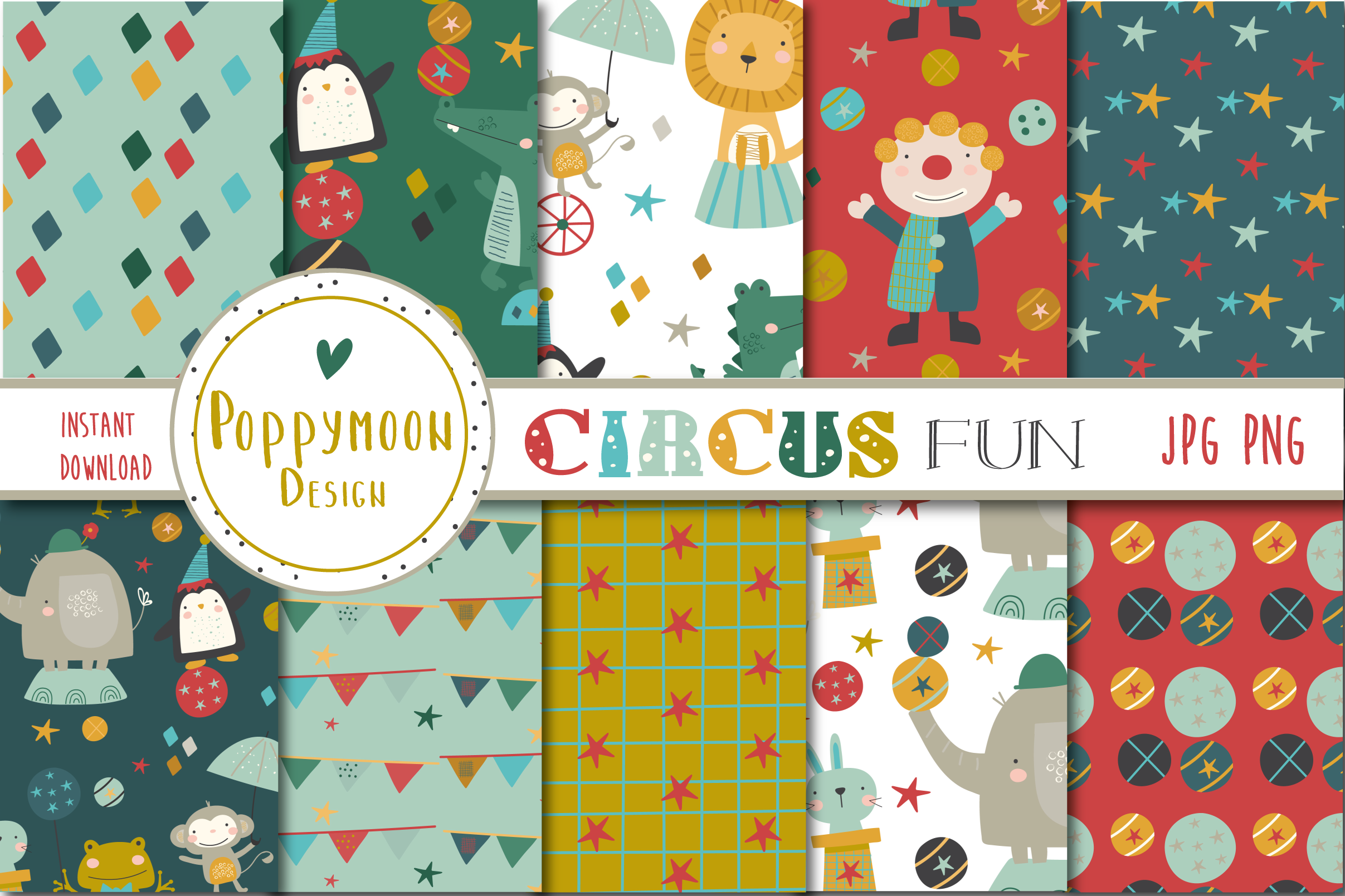 Download Free Circus Fun Papers Graphic By Poppymoondesign Creative Fabrica for Cricut Explore, Silhouette and other cutting machines.