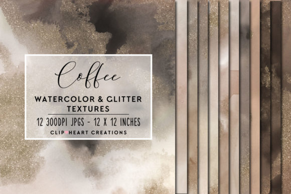 Coffee Glitter Watercolor Digital Papers Graphic By
