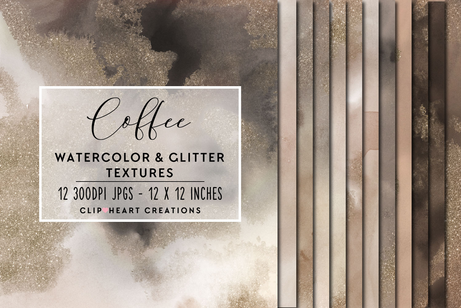 Download Free Coffee Glitter Watercolor Digital Papers Graphic By for Cricut Explore, Silhouette and other cutting machines.