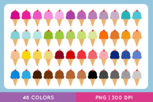 Colorful Ice Cream Clip Art Set Graphic Illustrations By TitaTips
