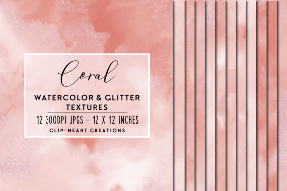 Download Free Coral Glitter Watercolor Digital Papers Graphic By for Cricut Explore, Silhouette and other cutting machines.