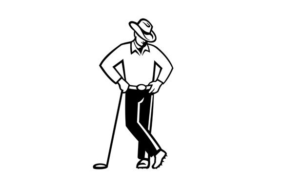 Download Free Cowboy Golfer Leaning Golf Club Graphic By Patrimonio Creative for Cricut Explore, Silhouette and other cutting machines.