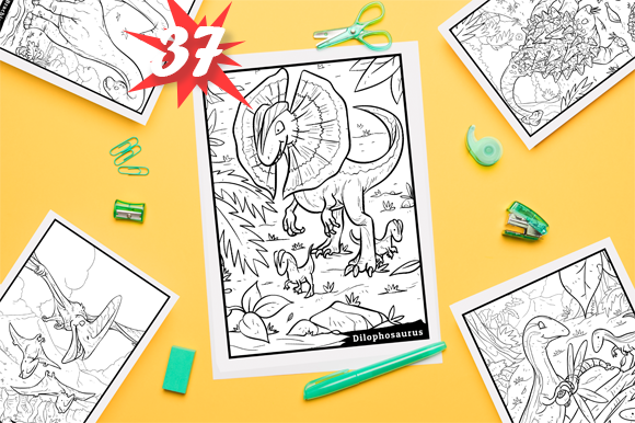 Print on Demand: Dinosaur Coloring Book for Kids - 37 Designs Graphic Coloring Pages & Books Kids By mo23304