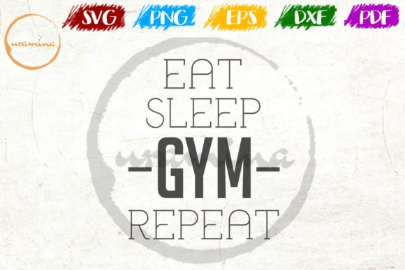 Download Free Eat Sleep Gym Repeat Graphic By Uramina Creative Fabrica for Cricut Explore, Silhouette and other cutting machines.