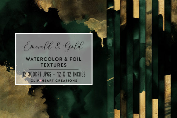 Emerald & Gold Watercolor and Foils Graphic Backgrounds By clipheartcreations - Image 1