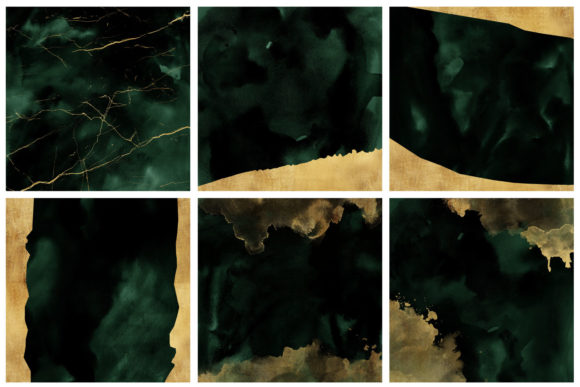 Emerald & Gold Watercolor and Foils Graphic Backgrounds By clipheartcreations - Image 3