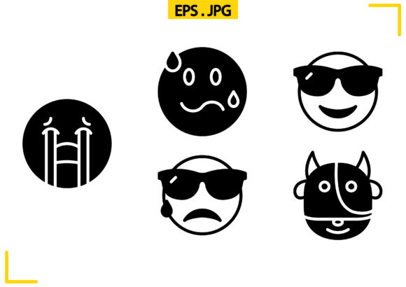 Download Free Emoticons Solid Graphic By Raraden655 Creative Fabrica for Cricut Explore, Silhouette and other cutting machines.
