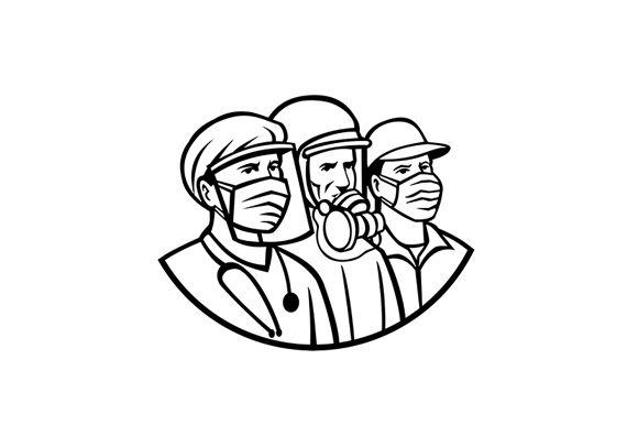 Essential Workers Wearing Mask Graphic By Patrimonio Creative