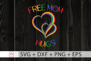 Print on Demand: Free Mom Hugs Rainbow Heart LGBTQ Grafik Druck-Templates von Novalia