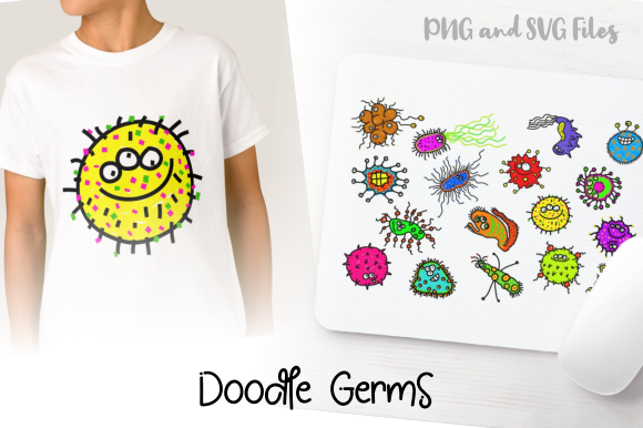 Download Free Funny Cartoon Doodle Germs Graphic By Prawny Creative Fabrica SVG Cut Files