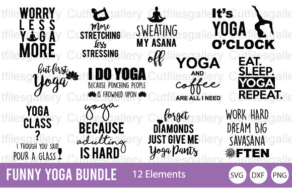 Download Free Funny Yoga Bundle Graphic By Cutfilesgallery Creative Fabrica for Cricut Explore, Silhouette and other cutting machines.