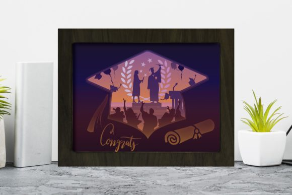 Download Free Graduation 3d Paper Cutting Light Box Graphic By Lightboxgoodman for Cricut Explore, Silhouette and other cutting machines.