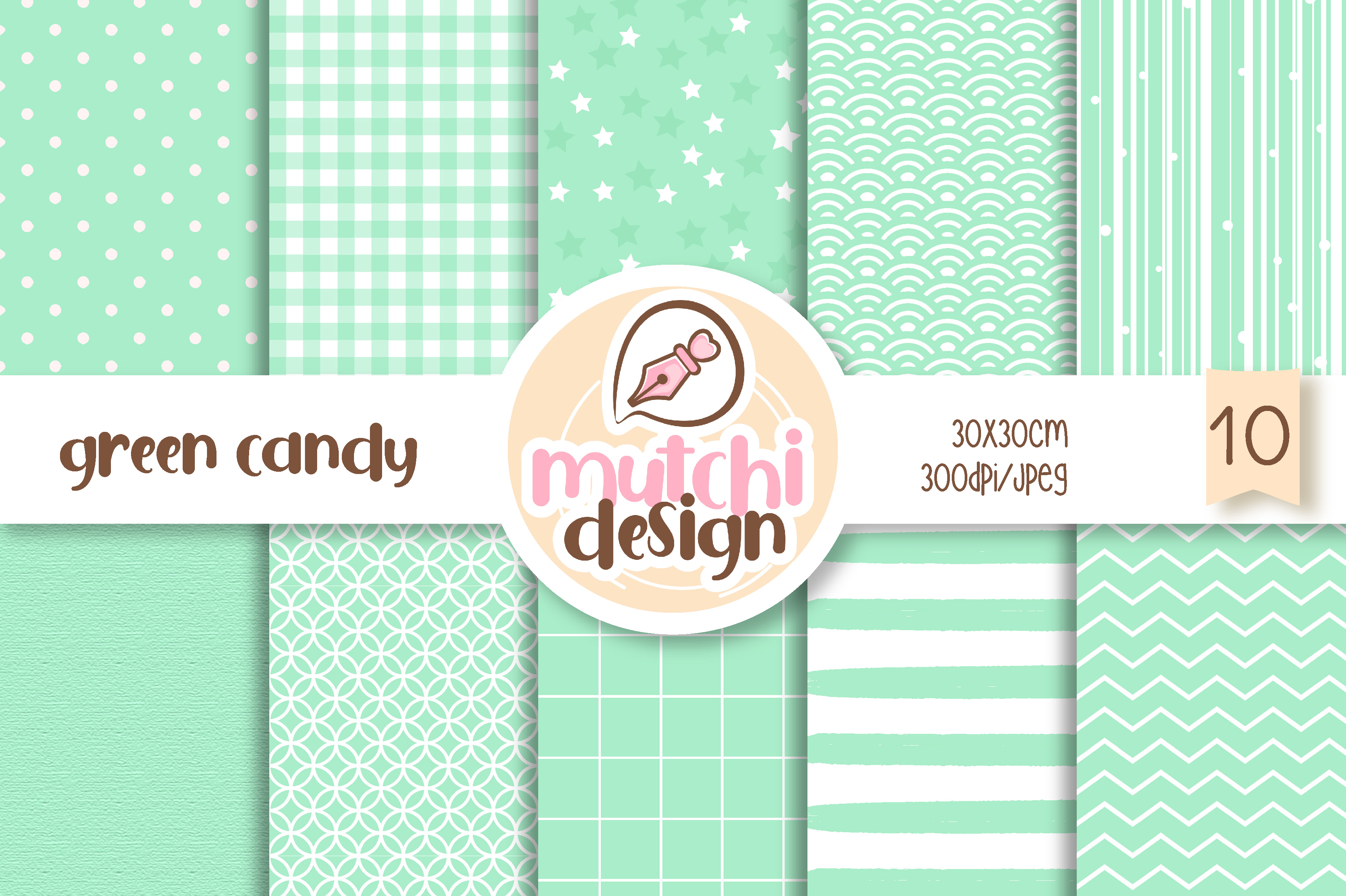 Download Free Green Candy Color Digital Papers Graphic By Mutchi Design for Cricut Explore, Silhouette and other cutting machines.
