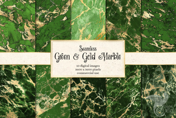 Print on Demand: Green and Gold Marble Digital Paper Graphic Textures By Digital Curio