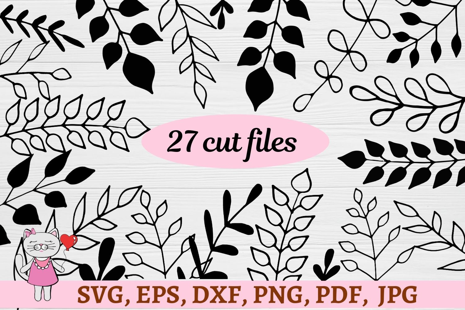 Download Free Hand Drawn Leaves Graphic By Magic World Of Design Creative for Cricut Explore, Silhouette and other cutting machines.