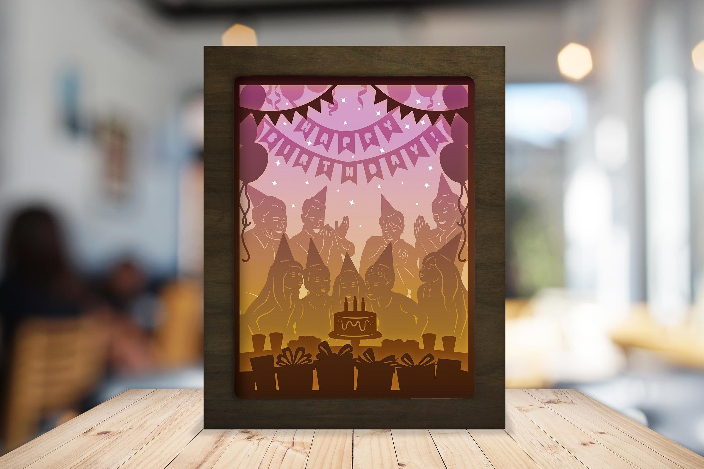 Download Free Happy Birthday 3d Paper Cutting Lightbox Graphic By for Cricut Explore, Silhouette and other cutting machines.