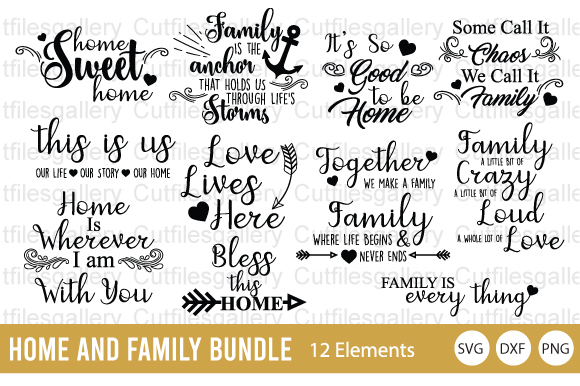 Download Free Home Bundle Family Bundle Graphic By Cutfilesgallery Creative for Cricut Explore, Silhouette and other cutting machines.