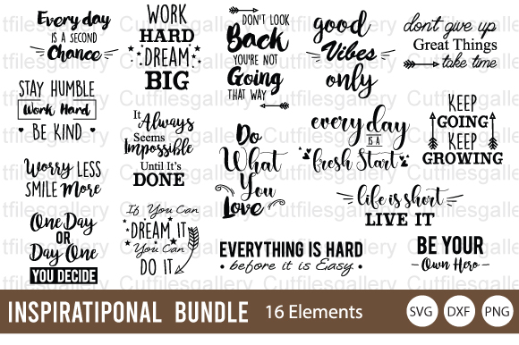 Download Free Inspirational Bundle Graphic By Cutfilesgallery Creative Fabrica for Cricut Explore, Silhouette and other cutting machines.
