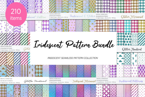 Download Free Iridescent Pattern Bundle Graphic By Bonadesigns Creative Fabrica for Cricut Explore, Silhouette and other cutting machines.