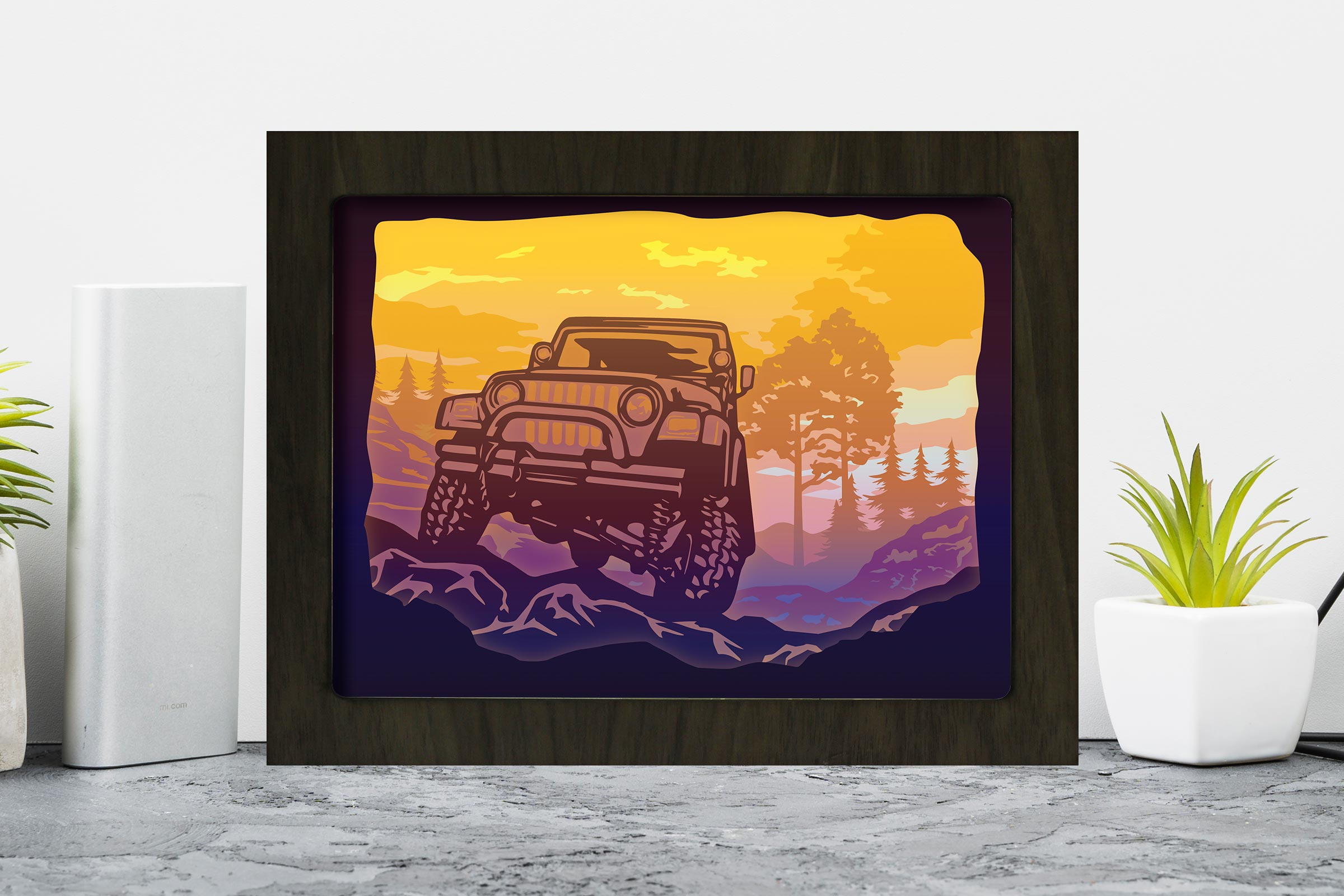Download Free Jeep 3d Paper Cutting Light Box Shadow Graphic By for Cricut Explore, Silhouette and other cutting machines.