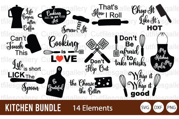 Download Free Kitchen Bundle Kitchen Tools Graphic By Cutfilesgallery for Cricut Explore, Silhouette and other cutting machines.