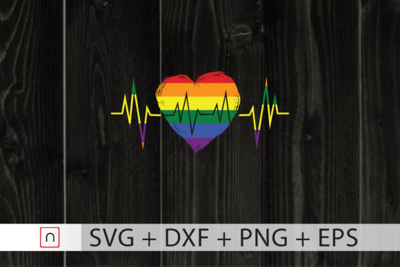 Download Free Lgbt Rainbow Heartbeat Gay Pride Graphic By Novalia Creative for Cricut Explore, Silhouette and other cutting machines.