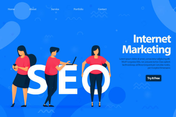Download Free Landing Page Of Seo For Internet Graphic By Setiawanarief111 for Cricut Explore, Silhouette and other cutting machines.