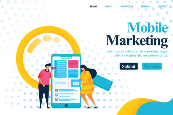 Download Free Landing Page Of Mobile Marketing Graphic By Setiawanarief111 for Cricut Explore, Silhouette and other cutting machines.