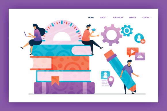 Download Free Landing Page Of Digital Education Graphic By Setiawanarief111 for Cricut Explore, Silhouette and other cutting machines.