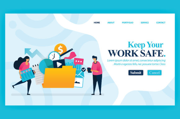 Download Free Landing Page Of Keep Your Work Safe Graphic By Setiawanarief111 for Cricut Explore, Silhouette and other cutting machines.