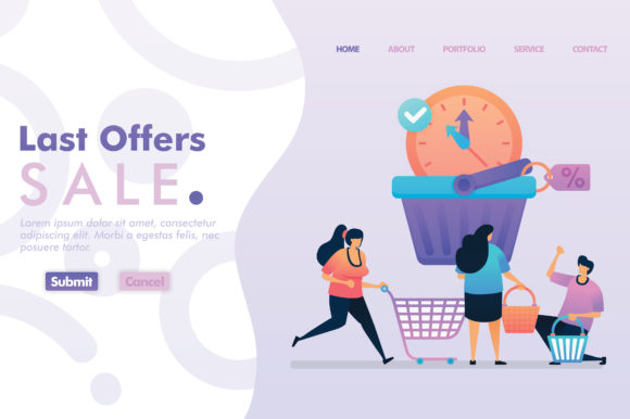 Download Free Landing Page Of Last Offers Sale Graphic By Setiawanarief111 for Cricut Explore, Silhouette and other cutting machines.