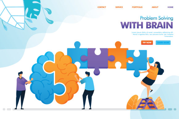 Print on Demand: Landing Page of Problem Solving Graphic Graphic Templates By setiawanarief111