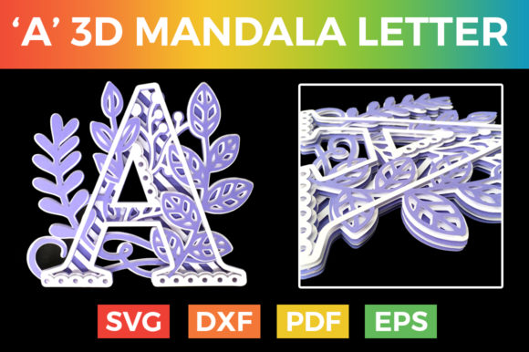 Download Free Letter A 3d Alphabet Layered Svg Graphic By Craftandcut for Cricut Explore, Silhouette and other cutting machines.