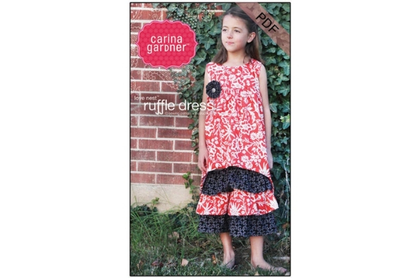 Download Free Love Nest Ruffle Dress Sewing Pattern Grafik Von Carina2 for Cricut Explore, Silhouette and other cutting machines.