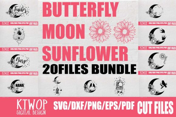 Print on Demand: Moon Butterfly Sunflower Bundle  Grafik Plotterdateien von Mr.pagman