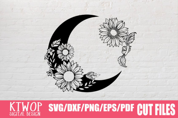 Print on Demand: Moon Butterfly Sunflower Bundle  Graphic Crafts By KtwoP - Image 10