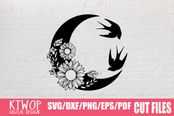 Print on Demand: Moon Butterfly Sunflower Bundle  Graphic Crafts By KtwoP - Image 11